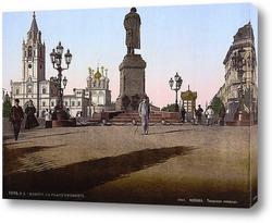 Постер Памятник А. Пушкину и Страстной монастырь на открытке, 19 век
