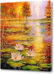 Картина Лилии на пруду