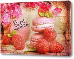 Постер макаруны и малина