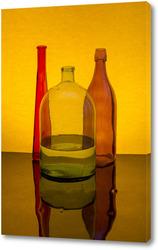 Картина Натюрморт с цветными бутылками