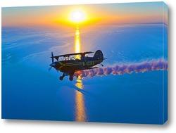 Постер Самолёт над морем и заходящее солнце.