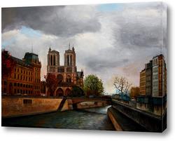 Картина Париж. Нотр Дам. Накануне трагедии