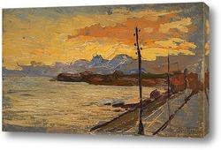 Картина Закат на побережье