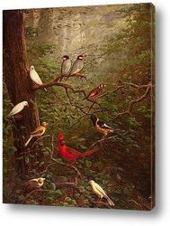 Картина Лесные птицы
