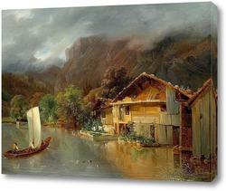 Картина Дом на озере Бринц с лодкой и утоками, 1832