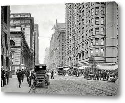 Постер Дирборн-стрит, Чикаго, 1907