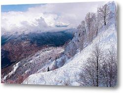 Постер Зимние горы Кавказа. Горнолыжная трасса.