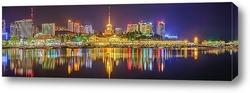 Красная Поляна. «Горки Город» нижний. Вечерняя панорама набережной времена года