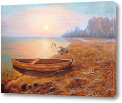 Картина Картина маслом. Рассвет на озере. Холст 40х60