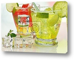 Постер Cold drinks with lime