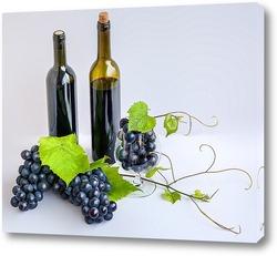 Постер Свежий виноград, бокал и бутылки