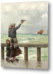 Пляжная сцена с французскими рыбачками