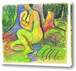 Картина Сидящая Эрна перед лесными деревьями