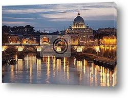 Постер Rome - Angels bridge and St. Peter s basilica in evening