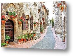 Постер Живописный переулок с цветами в итальянском  городе