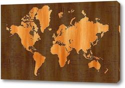 Картина деревянная карта