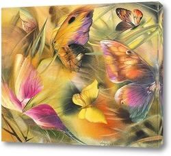 Картина бабочки на ветру