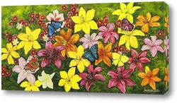 Картина Цветы и бабочки