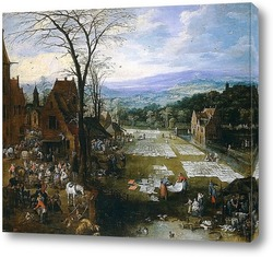 Постер Беление холстов близ рынка во Фландрии