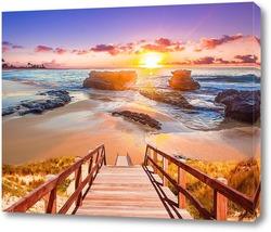Постер Рассвет на берегу моря