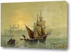 торговый бриг дрейфует в гавани