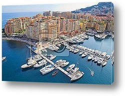 Panoramic view of Monaco harbour, Monte Carlo