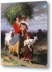 Картина Мать возвращается с детьми домой