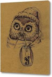 Картина Совенок в шапке и с компьютерной мышкой