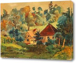 Картина Амазонка перед деревней в лесу