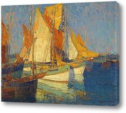 Постер Солнечный свет на лодках Бретани