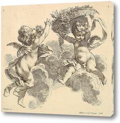 Картина Двое детей, один несет корзину с цветами