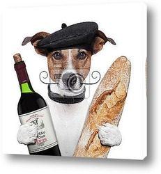 Постер French dog wine baguette beret