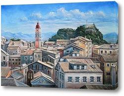 Картина  Корфу,вид на город