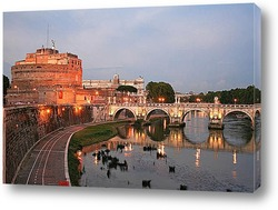 Rome - Angels bridge and St. Peter s basilica in evening