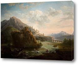 Картина Горный пейзаж с замком и фигурами рядом с рекой