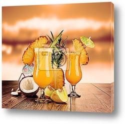 Постер Тропические коктейли и вечернее солнце