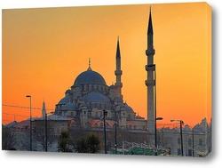 Постер Новая мечеть на закате. Стамбул