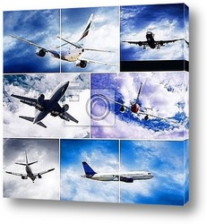 Collage of photos by airplanes at fly on the sky with clouds