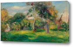 Постер Луг, деревья и женщины