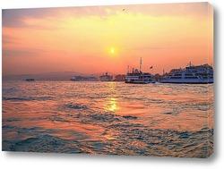 Постер Рассвет над проливом Босфор. Стамбул, Турция.