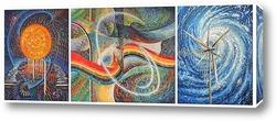 """Картина, триптих """"Энергия Солнца, Воды и Ветра"""""""