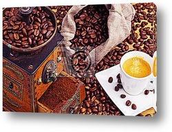 Kaffee. Kaffeebohnen und KaffeemГјhle
