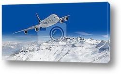 Постер Passagierflugzeug und Гјber den alpen