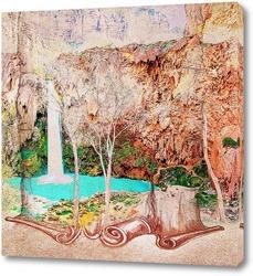 Постер Горный водопад