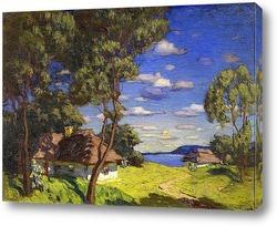 Картина Украинский пейзаж с Коттеджем