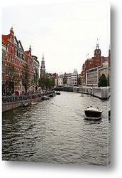 Амстердам. Мост через реку