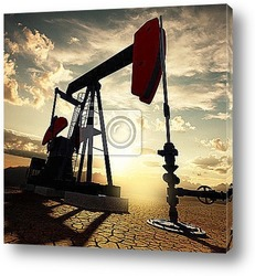 Постер Oil pump on the sunset sky