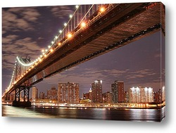 Нью-Йорк ночью. Вид с залива
