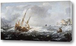 Корабль в шторм на скалистом берегу