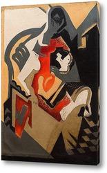 Постер Сидящая женщина - Композиция с красным пятном